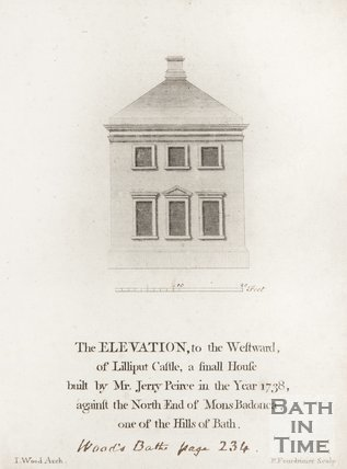 The Elevation, to the Westward of Lilliput Castle, a small House built by Mr. Jerry Peirce in 1738