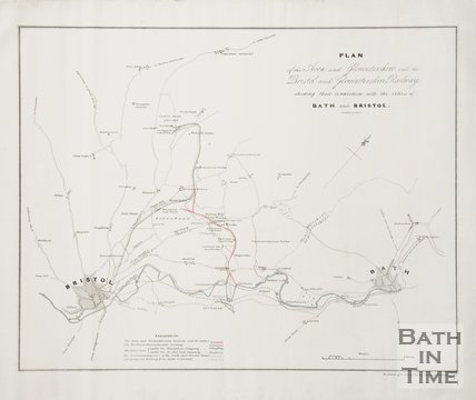 Plan of the Avon and Gloucestershire and the Bristol and Gloucestershire Railways showing their connection with the cities of Bath and Bristol