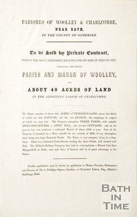 Leaflet for the sale of land in Woolley and Charlcombe, near Bath 1840