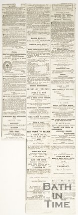 Back of newspaper article containing various advertisements 1876
