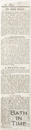 Newspaper article reporting on the departure of Rev. J. W. Pitchford from the City of Bath