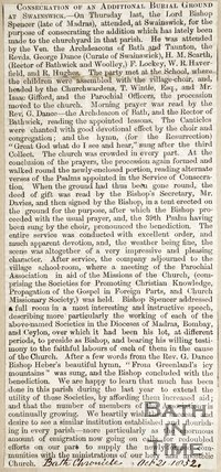 Newspaper article concerning the consecration of an additional burial ground at Swainswick 1852.