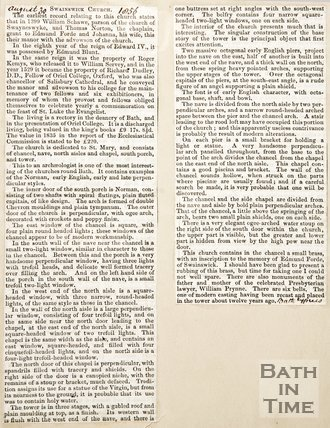 Newspaper article containing a history of Swainswick Church 1856