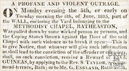 Newspaper article regarding violent outrage outside the Methodist Chapel Batheaston 1815.