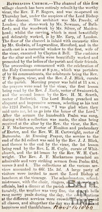 Newspaper article concerning the refurbishment of Batheaston Church 1860
