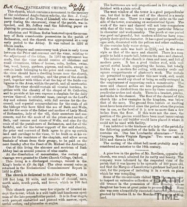 Newspaper article containing the history of Batheaston Church 1856