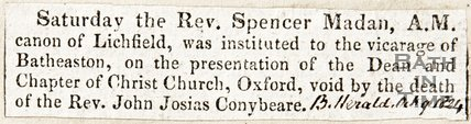Newspaper article announcing Rev. Spencer Madam A. M. is now vicar of Batheaston 1824.