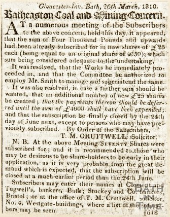 Newspaper article announcing the funds raised by the subscribers of the Batheaston Coal Company. 1810