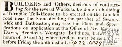 Newspaper article inviting builders to undertake work on a turnpike on the London Road, 1829