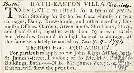 Newspaper article announcing the rental of Batheaston Villa, 1794