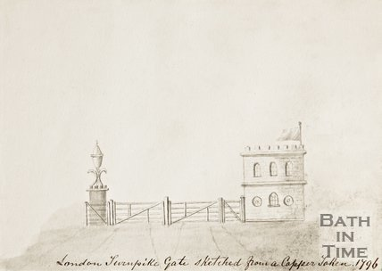 London Road Turnpike Gate sketched from a copper token 1796