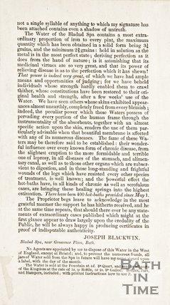 Public notice concerning Bladud Spa Larkhall
