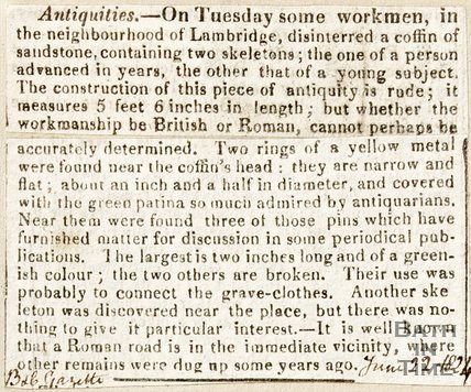 Newspaper article announcing the discovery of antiquities in Lambridge, 1824