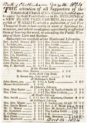 Newspaper article asking for subscriptions for the building of New Plain Free Church Walcot, 1824