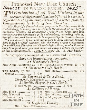 Newspaper article celebrating donations from His Majesties Commissions towards the new church in Walcot, 1825