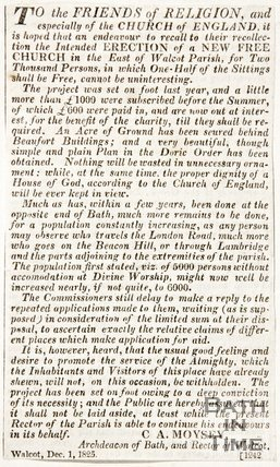 Newspaper article discussing donations towards the new church Walcot, 1825