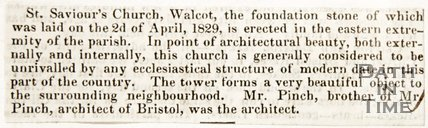 Newspaper article announcing the laying of the foundation stone of St. Saviour's Church Walcot, 1829