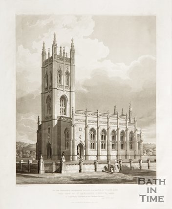 View of St. Saviours Church Larkhall, Bath 1834