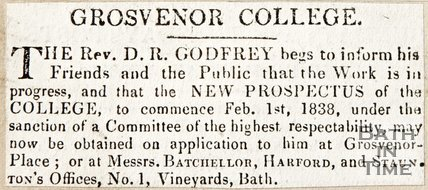 Newspaper article announcing a new prospectus Grosvenor Collage 1838