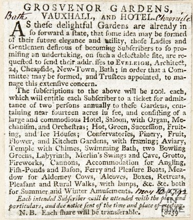 Newspaper article asking for subscriptions for a hotel at Grosvenor Gardens, 1792