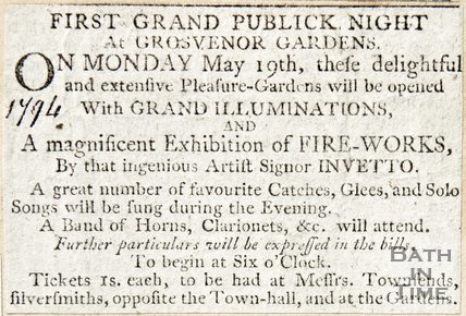 Newspaper article announcing the first grand opening night of Grosvenor Gardens, 1794
