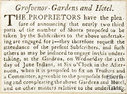 Newspaper article requesting subscribers for the Grosvenor Gardens and hotel