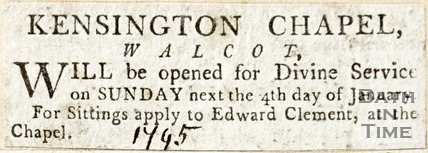 Newspaper article announcing Kensington Chapel Walcot will be open for service, 1795