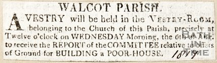 Newspaper article advertising meeting to discuss the poorhouse in Walcot Parish, 1817