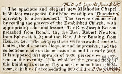 Newspaper article announcing the opening of the new Methodist Chapel Walcot, 1816