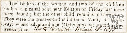 Newspaper article announcing the bodies of a woman and two children have been found in the canal near Kelston, 1815