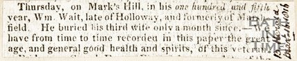 Newspaper article announcing William Wait is in his 105th year, 1816