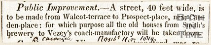 Newspaper article describing public improvements on Walcot Terrace and Prospect Place, 1814