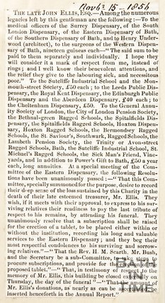 Newspaper article containing an obituary of the Rev. John Ellis Esq, 1846