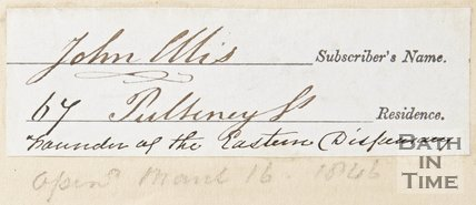 Subscribers note belonging John Ellis of Poultney Street, founder of the Eastern dispensary