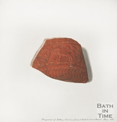 Sketch of a fragment of pottery found behind the brewery of Messrs Sainsburys of Walcot Bath, and acres, 1815