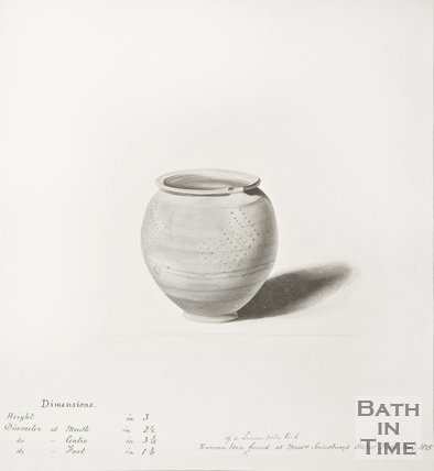 Sketch of Roman urn found behind the brewery of Messrs Sainsburys of Walcot Bath and Acres, 1816