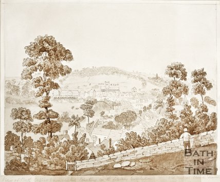 View of Bath copied from a painting in the Literary Institution of Old Walcot Church, 1852