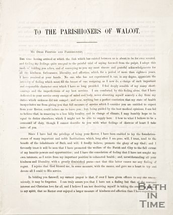 Leaflet regarding the resignation of Sydney Henry Widdrington of Walcot Parish, 1858