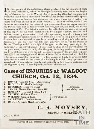 Note concerning injuries caused by gaslight failure in Walcot Church, 1834