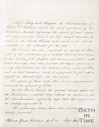 Handwritten letter in which the church wardens of Walcot St. Swithin thanks for contributions for improvements, 1847