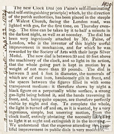 Newspaper article regarding a new clock dial on Walcot Church, 1829
