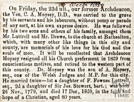 Newspaper article reporting on the funeral of former Archdeacon Moisy of Walcot, 1859