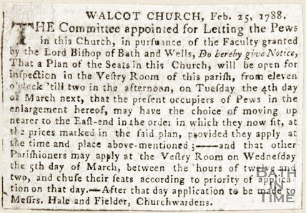 Newspaper article announcing a meeting to let the pews of Walcot Church, 1788
