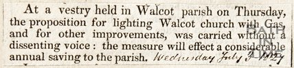 Newspaper article regarding new gas lighting at Walcot Church, 1827