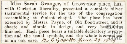 Newspaper article regarding the presentation of a silver sacramental service for Walcot Chapel, 1849
