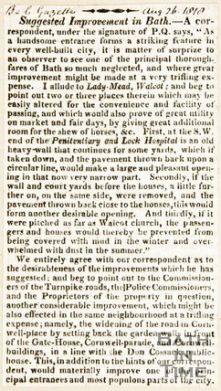 Newspaper article alluding to suggested improvements in Walcot, 1818