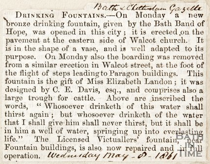 Newspaper article announcing the opening of a brand new drinking fountain at Walcot Church, 1861