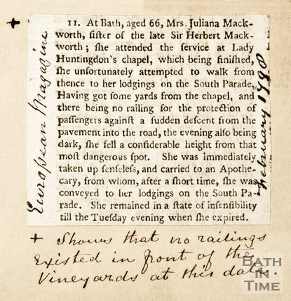 Newspaper article reporting on the death of Julienna Macworth after she fell outside Lady Huntington's Chapel, 1798