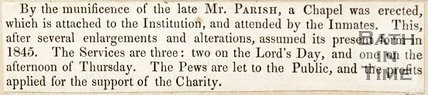 Newspaper article announcing a chapel was erected and attached to the Bath Penitentiary for inmate use, 1845