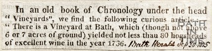 Newspaper article noting the discovery of a vineyard in Bath, 1815